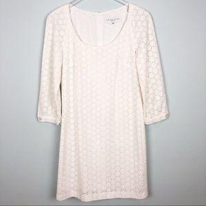 Trina Turk White Eyelet Dress   3/4 Sleeves   Sz 8